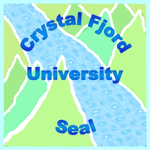 Crystal Fjord University seal with a river running through small mountains