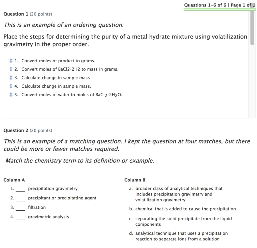 Quiz Two: question 1 is sordering, question 2 is matching